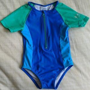Short Sleeve Zip One Piece Swimsuit